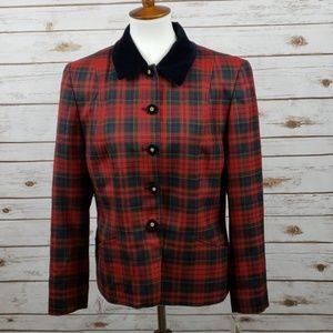 NWT Pendleton Folklore Red Plaid Wool Jacket 14P